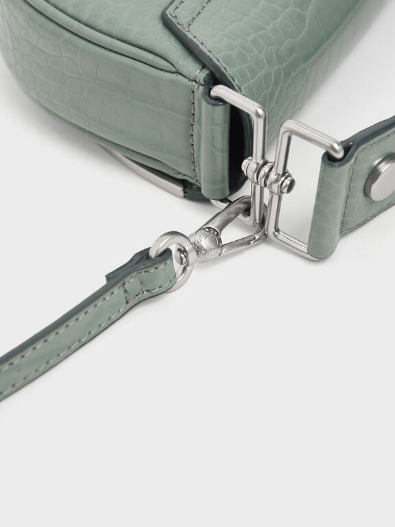 Croc-Effect Top Handle Semi-Circle Bag, Sage Green