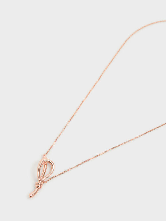 Knotted Pendant Matinee Necklace, Rose Gold, hi-res