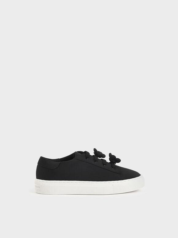 兒童小花休閒鞋, 黑色, hi-res