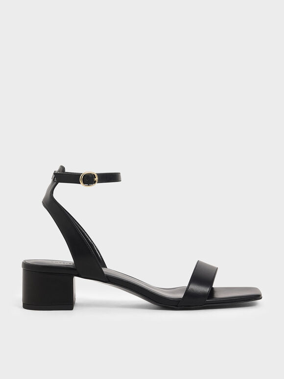 Square Toe Ankle Strap Block Heels, Black, hi-res