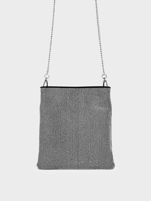 Microsuede Mini Crossbody Bag, Black, hi-res