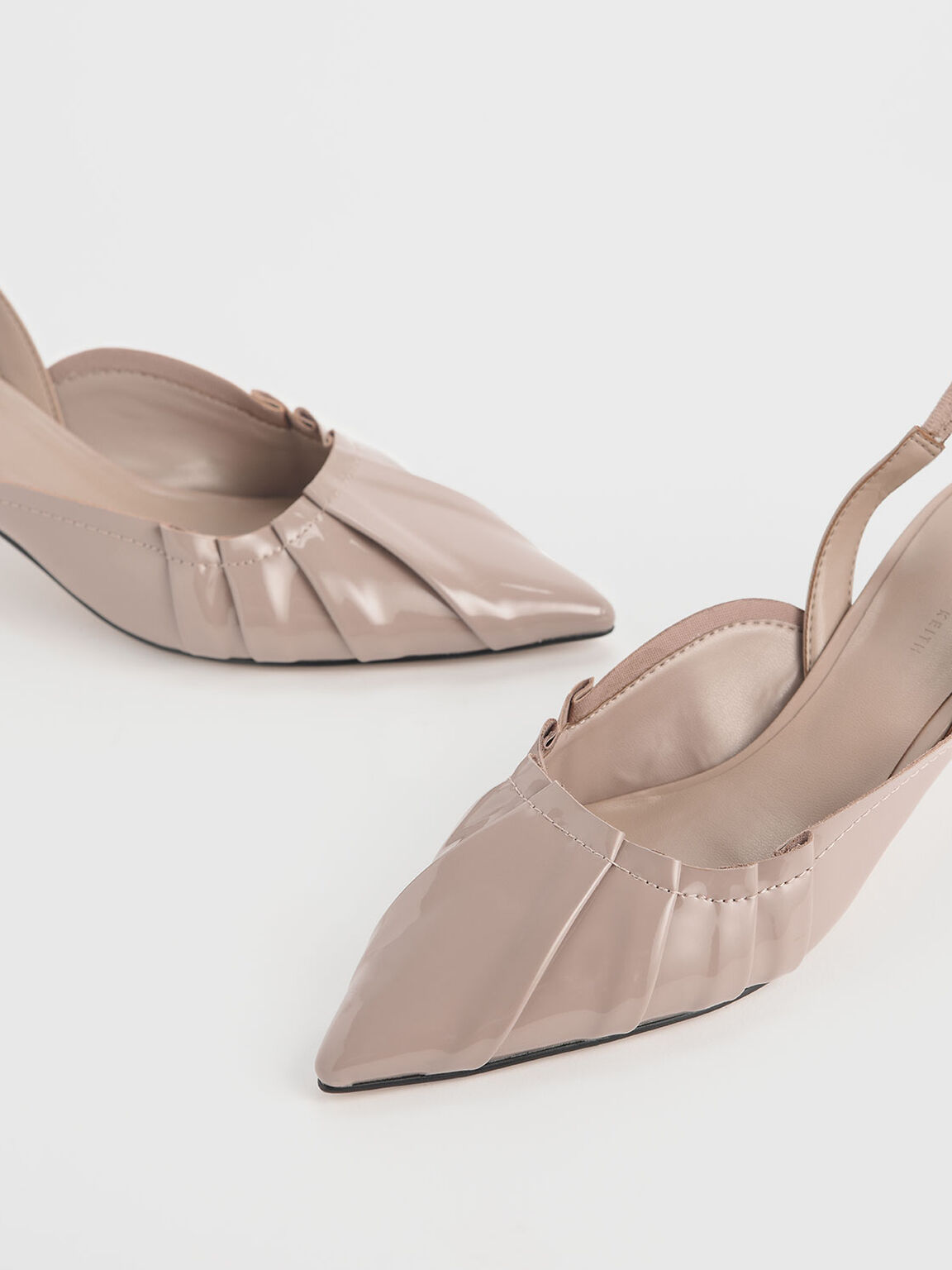 Ruched Patent Slingback Heels, Nude, hi-res