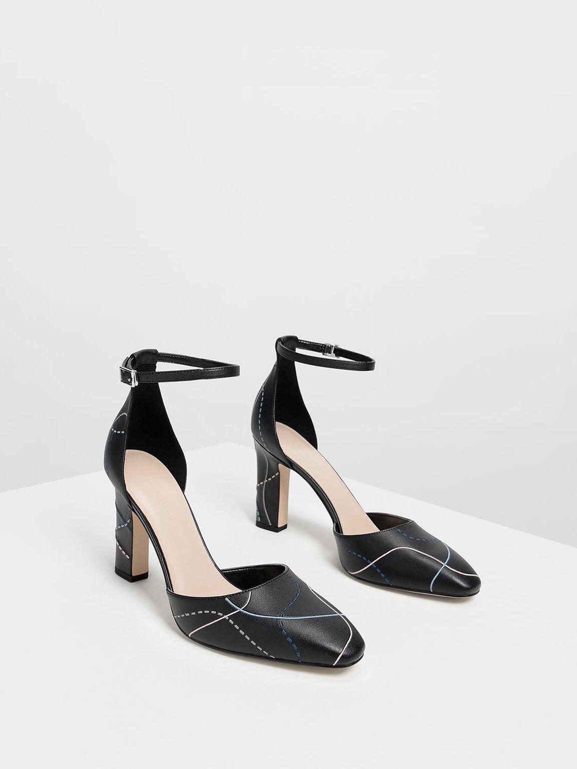 Almond Toe Ankle Strap Heels, Black, hi-res
