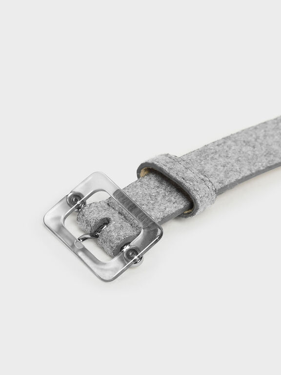 Oversized Acrylic Buckle Belt, Grey