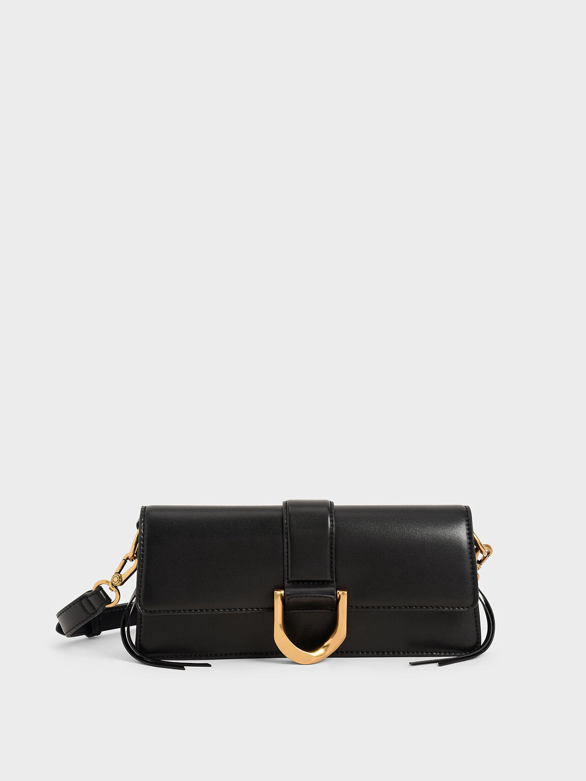 Metallic Buckle Shoulder Bag, Black, hi-res
