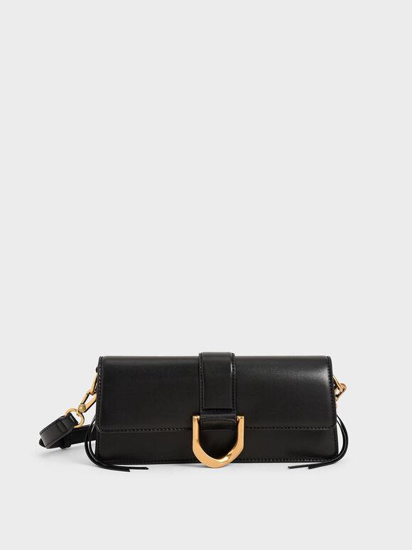 Metallic Buckle Shoulder Bag, Black, hi-res