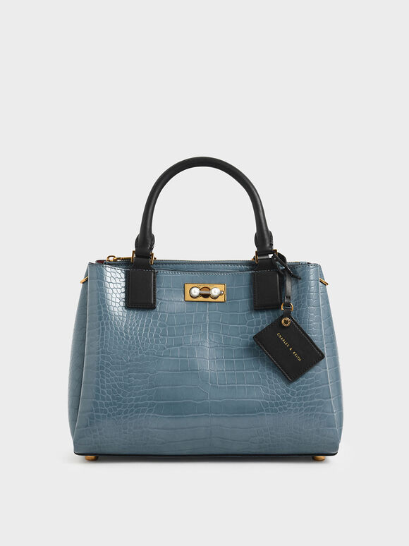 Croc-Effect Large Structured Bag, Blue, hi-res