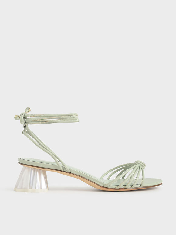 Geometric Heel Ankle Tie Sandals, Mint Green, hi-res