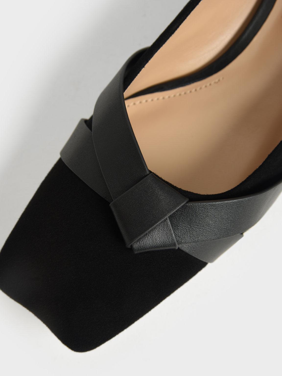 Leather & Kid Suede Bow-Tie Ballerinas, Black, hi-res