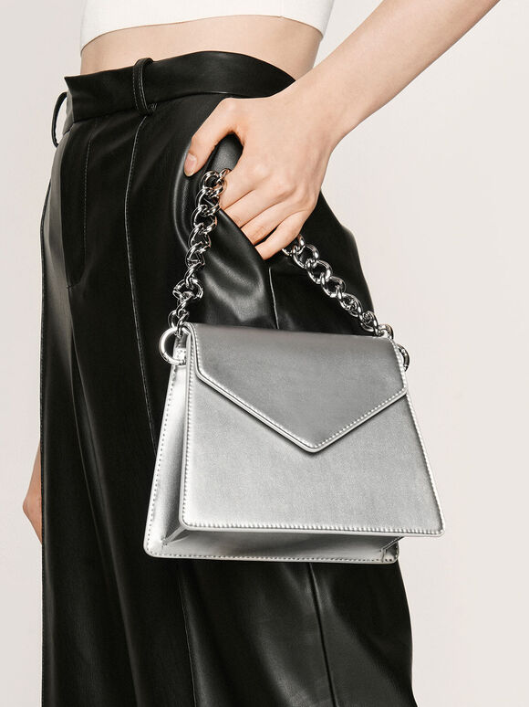 Metallic Angular Crossbody Bag, Silver, hi-res