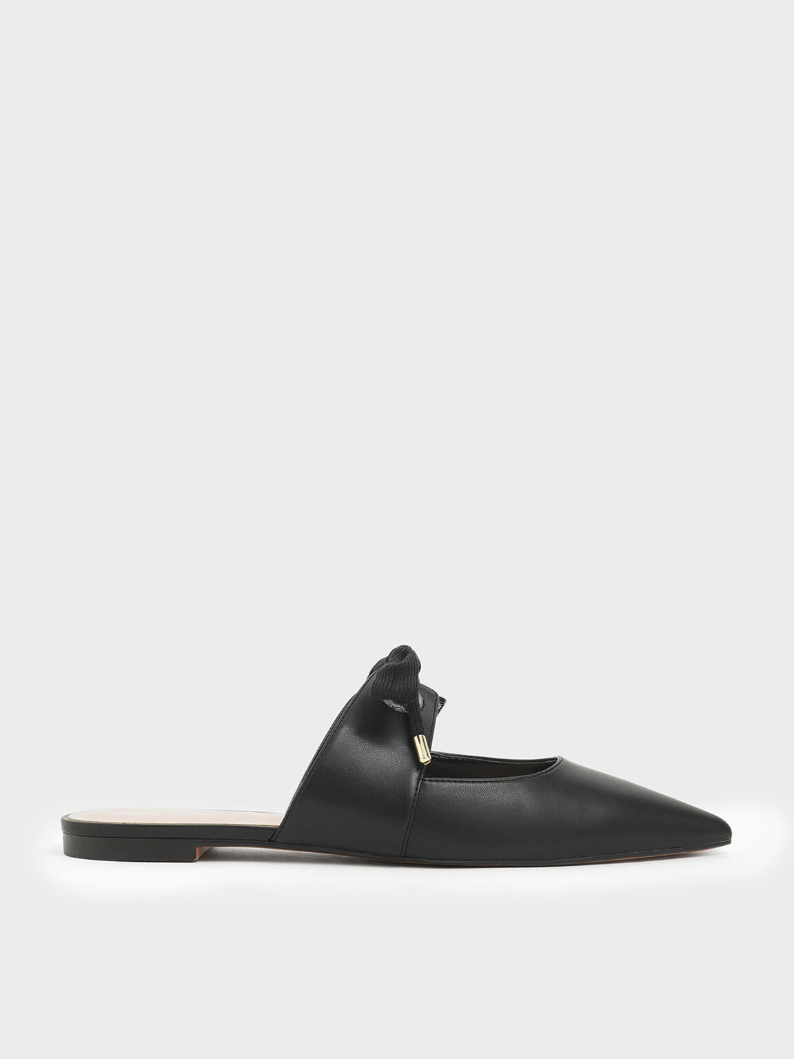 Bow Strap Pointed Toe Mules, Black, hi-res