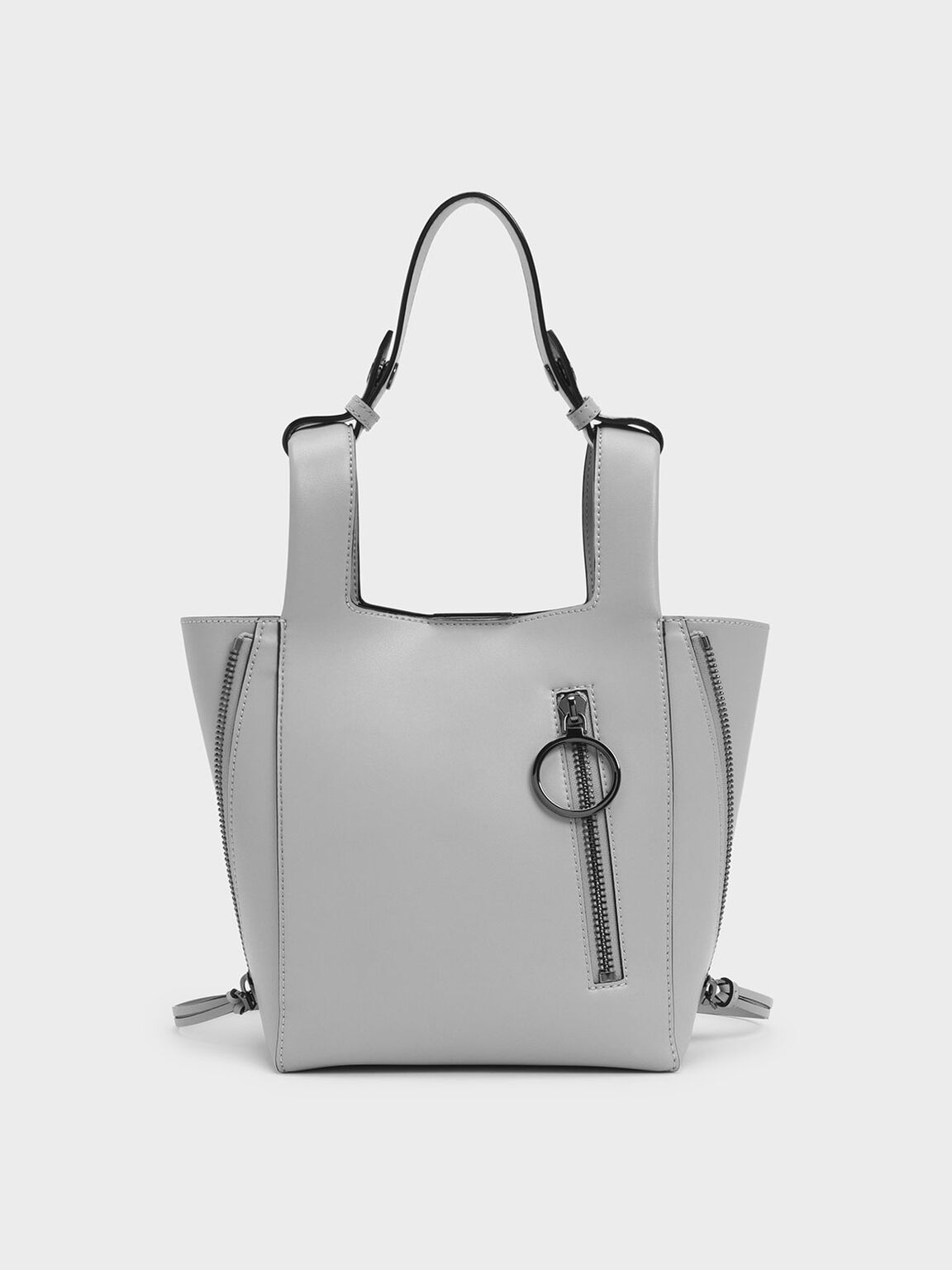 Ring Zip Pocket Square Handle Trapeze Tote, Grey, hi-res