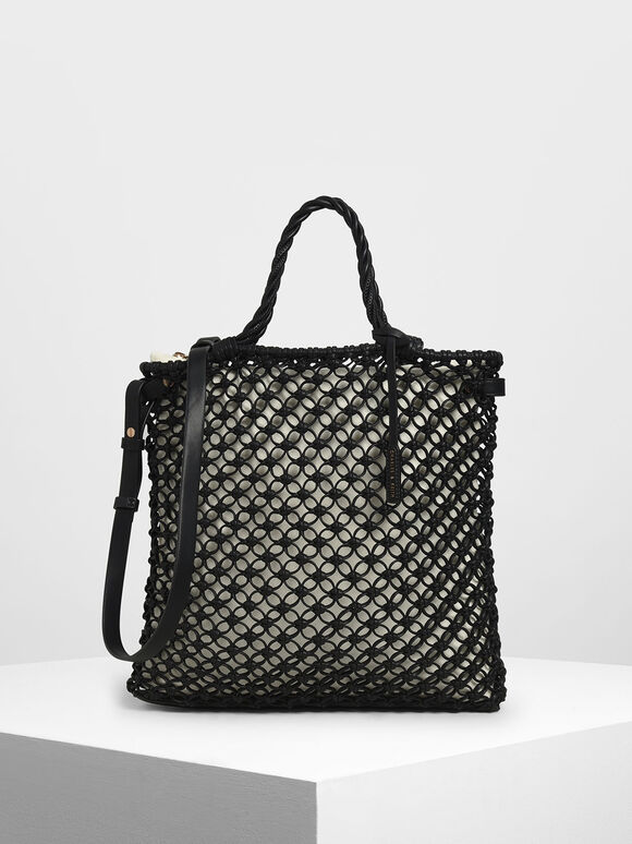 Knitted Tote Bag, Black, hi-res