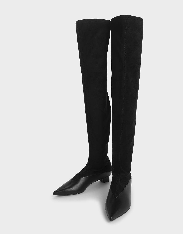 Black Thigh High Low Block Heel Sock