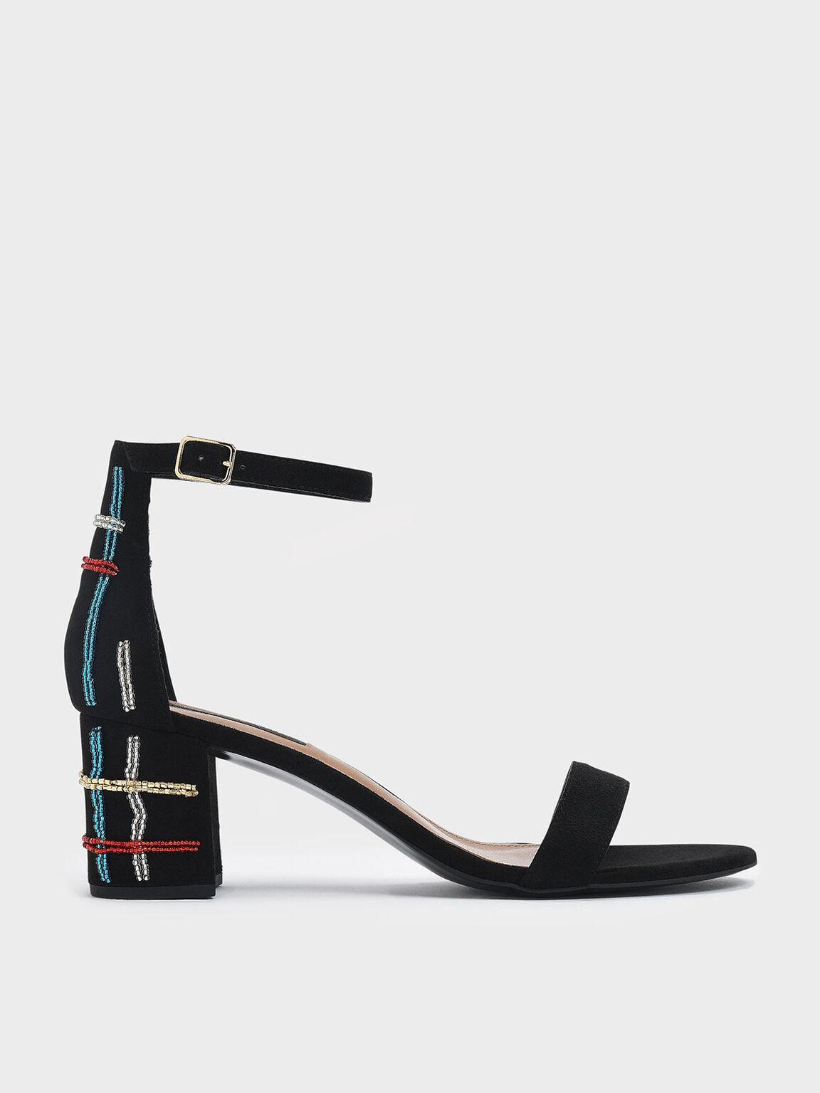 Block Heel Ankle Strap Sandals, Black, hi-res