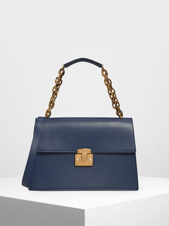 Chain Strap Classic Shoulder Bag, Dark Blue