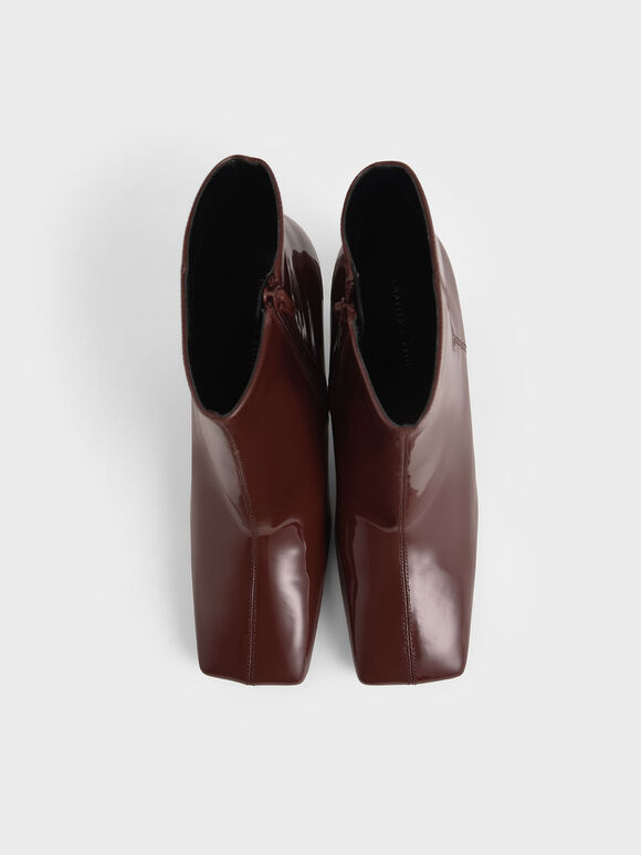 方頭高跟短靴, 土黃色, hi-res