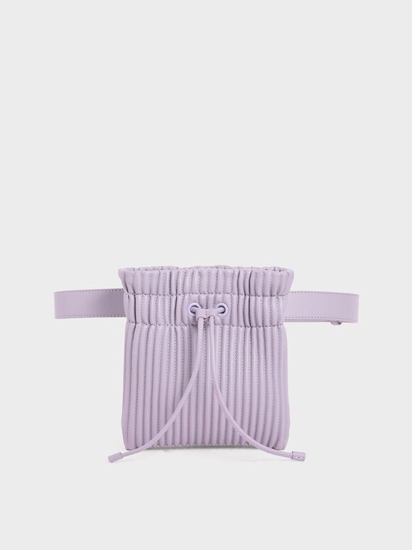 Textured Drawstring Belt Bag, Lilac, hi-res