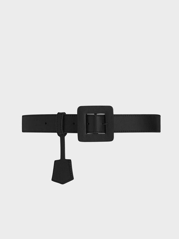 Oversized Buckle Belt, Black, hi-res