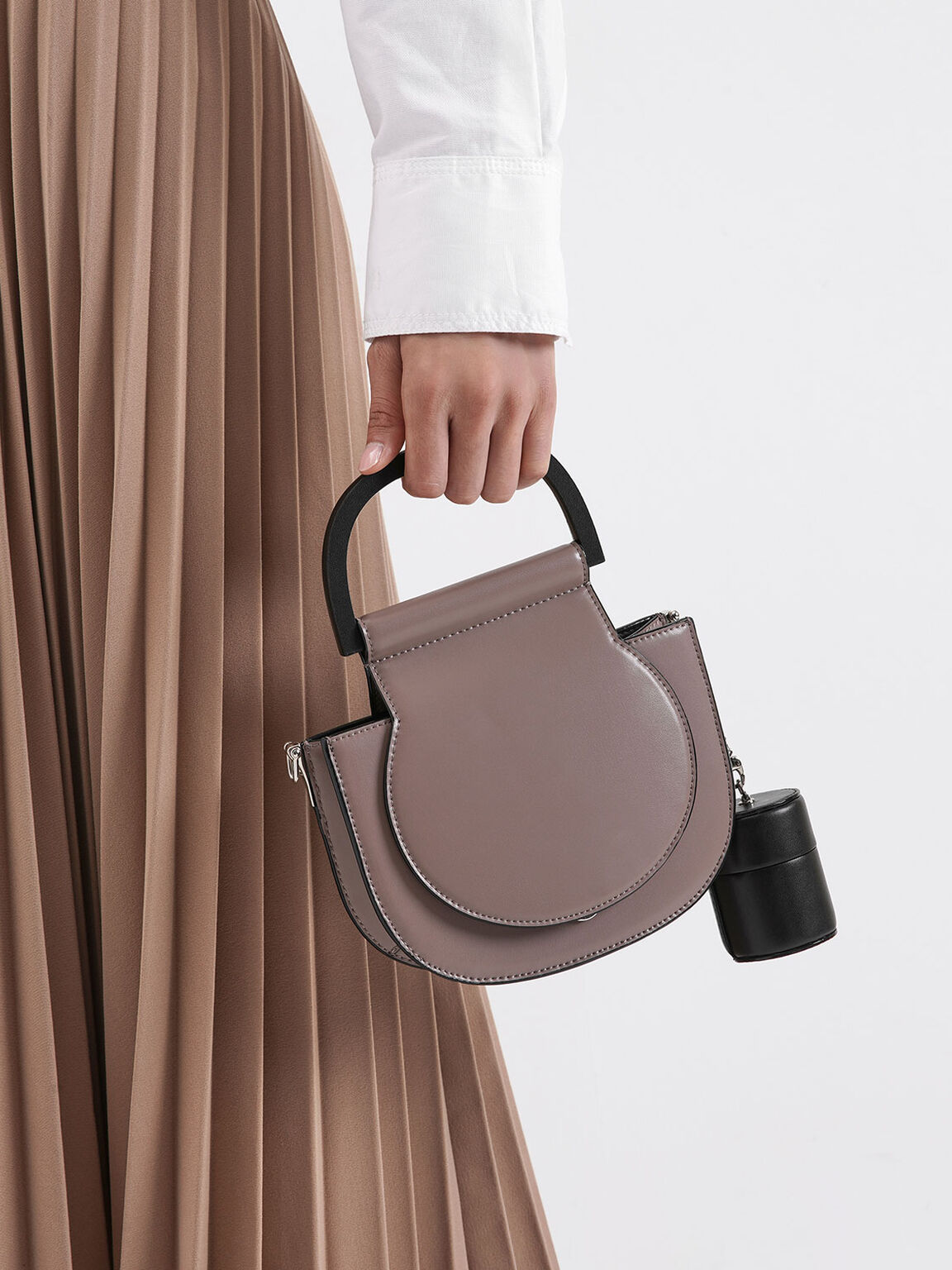 Mini Top Handle Saddle Bag, Brown, hi-res