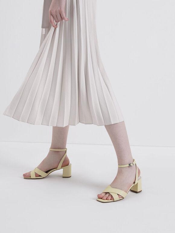 交叉寬帶涼鞋, 黃色, hi-res