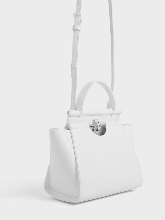 Croc-Effect Trapeze Bag, White