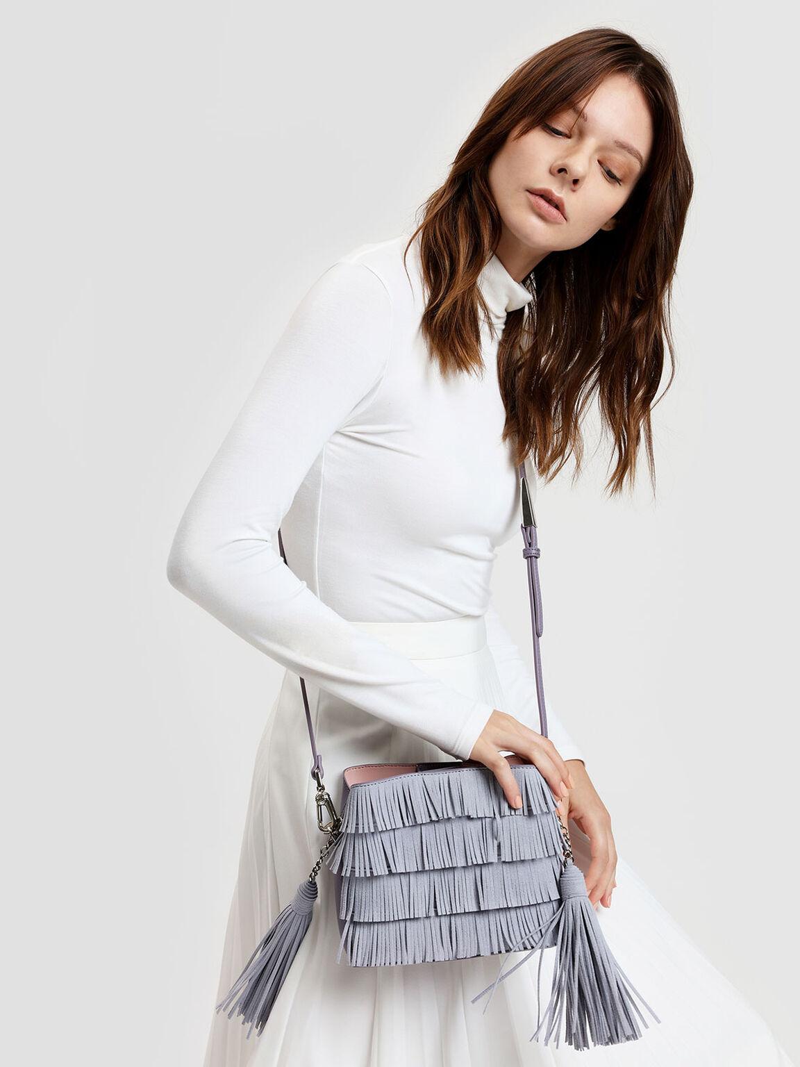 Fringe Detail Bucket Bag, Lilac Grey, hi-res