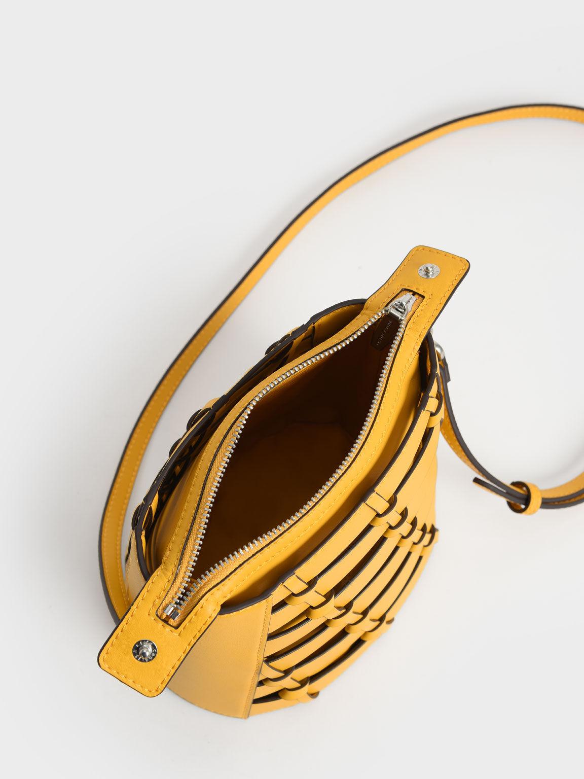 브레이디드 버킷 백, 옐로우, hi-res