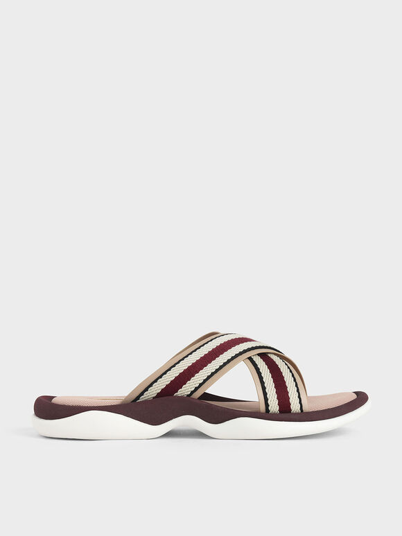Grosgrain Slide Sandals, Nude, hi-res