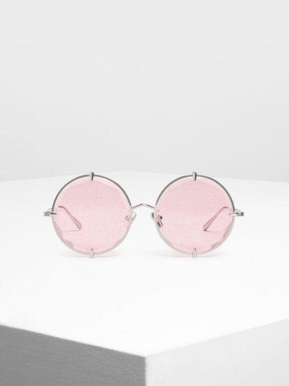 라운드 와이어-프레임 선글라스, Pink, hi-res