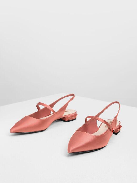 Bejeweled Heel Slingback Flats, Coral Pink