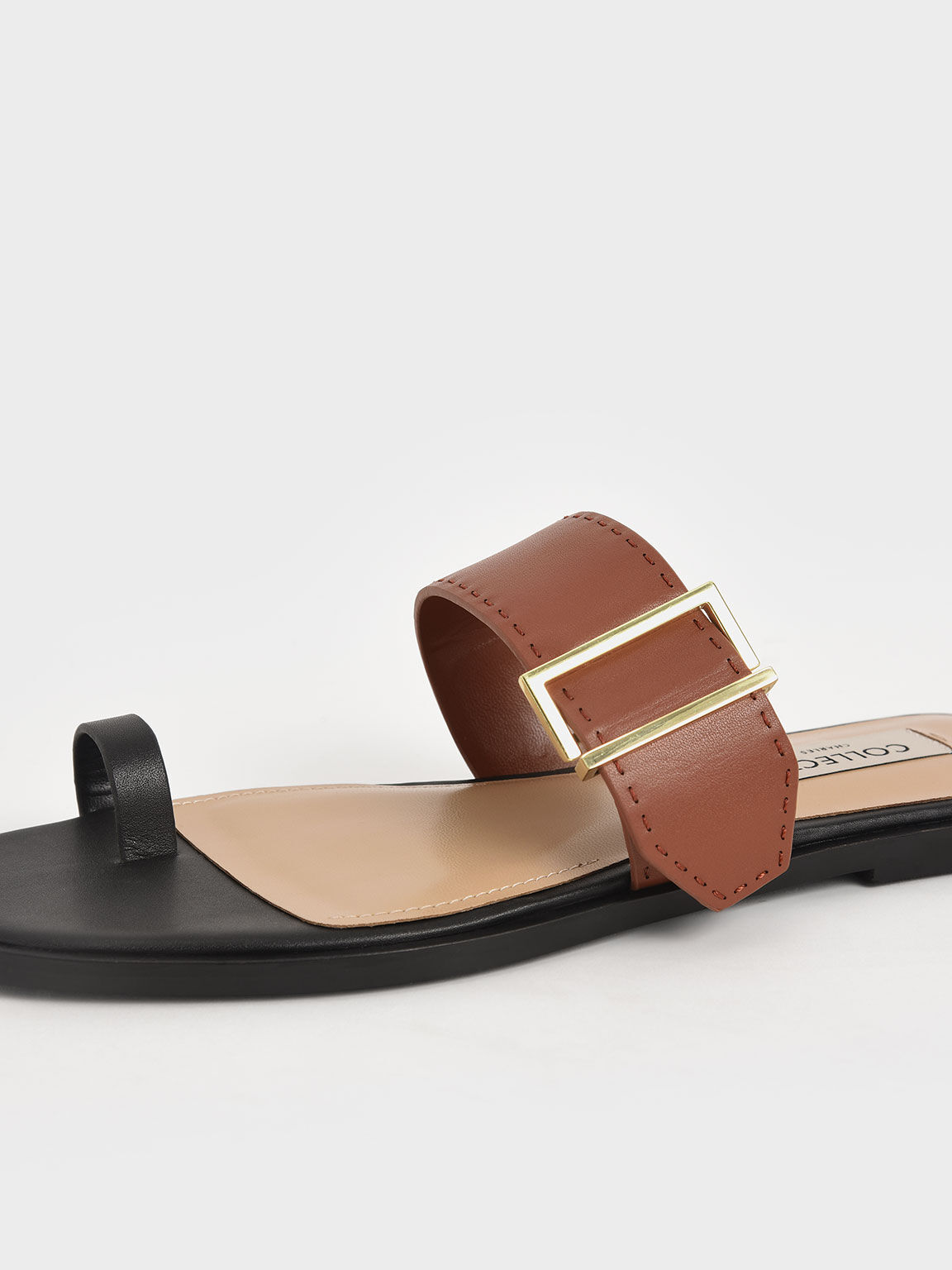 Leather Metallic Buckle Flats, Multi, hi-res