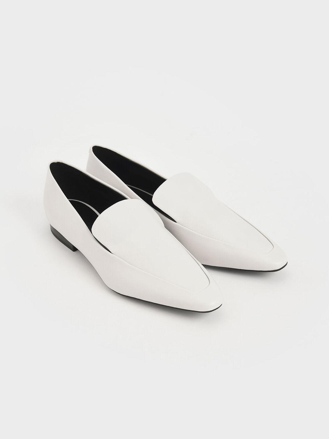 Almond Toe Loafer Flats, Chalk, hi-res