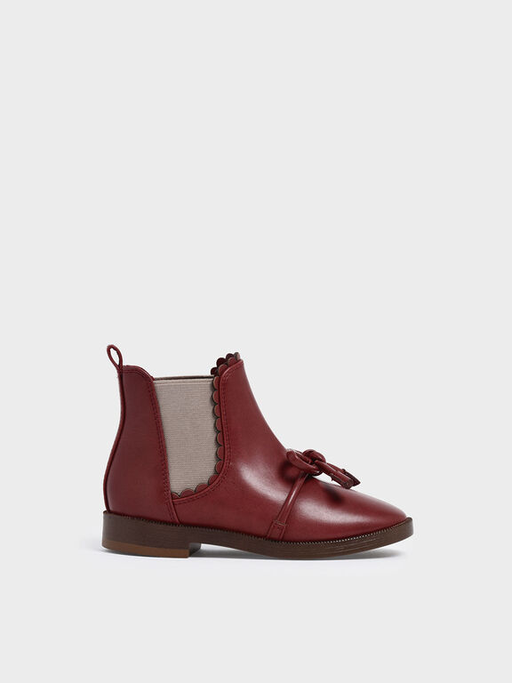 Girls' Scallop Detail Ribbon Tie Chelsea Boots, Brick
