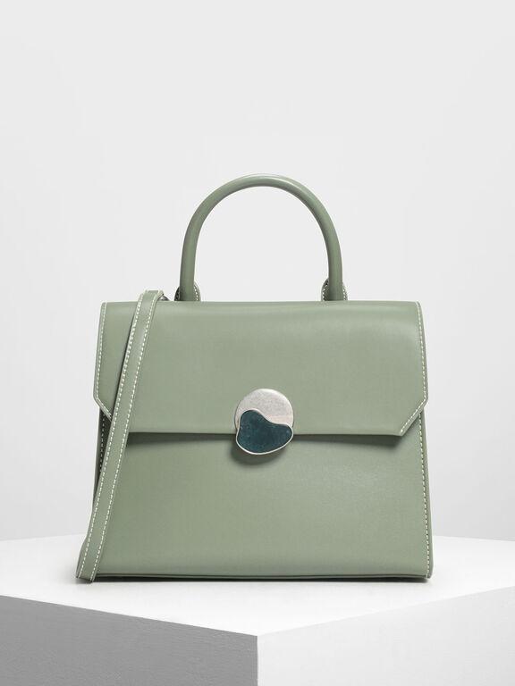 Stone Detail Push Lock Bag, Sage Green, hi-res