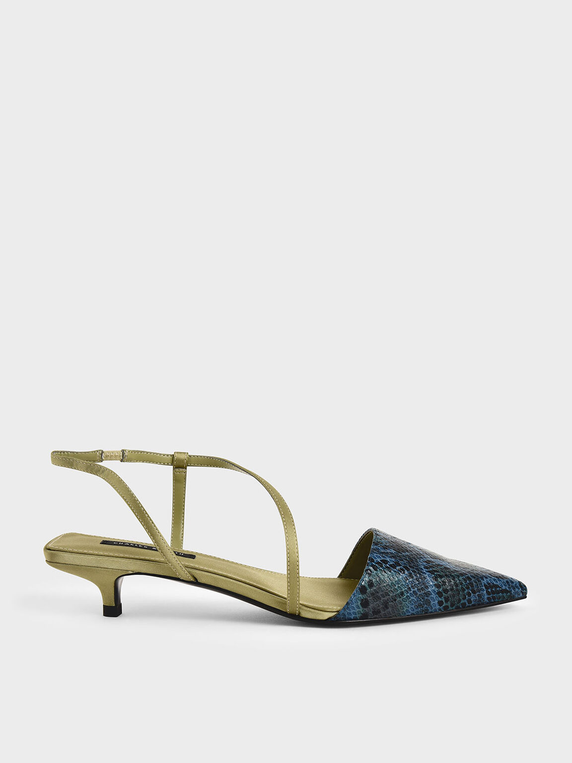 Snake Print Asymmetric Strap Pumps, Animal Print Blue, hi-res