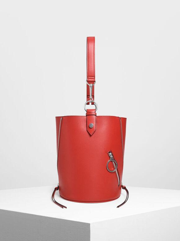 Ring Zip Pocket Geometric Bucket Bag, Red, hi-res