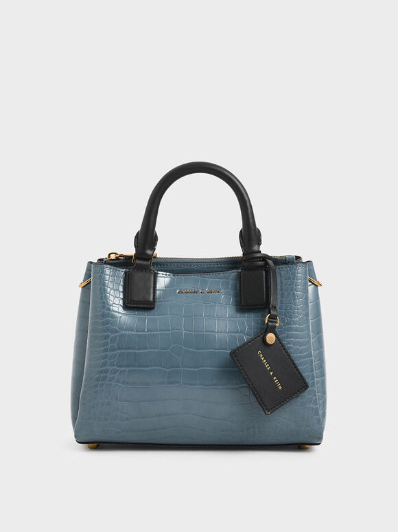 Croc-Effect Structured Bag, Blue, hi-res