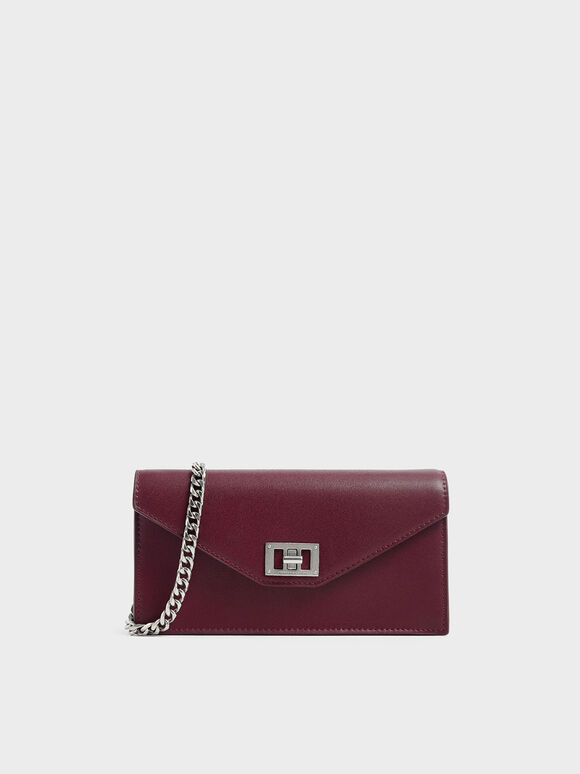 Long Envelope Wallet, Burgundy, hi-res