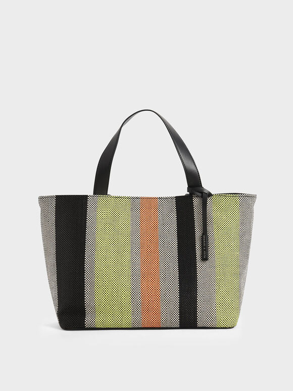 Large Striped Jacquard Tote Bag, Multi, hi-res