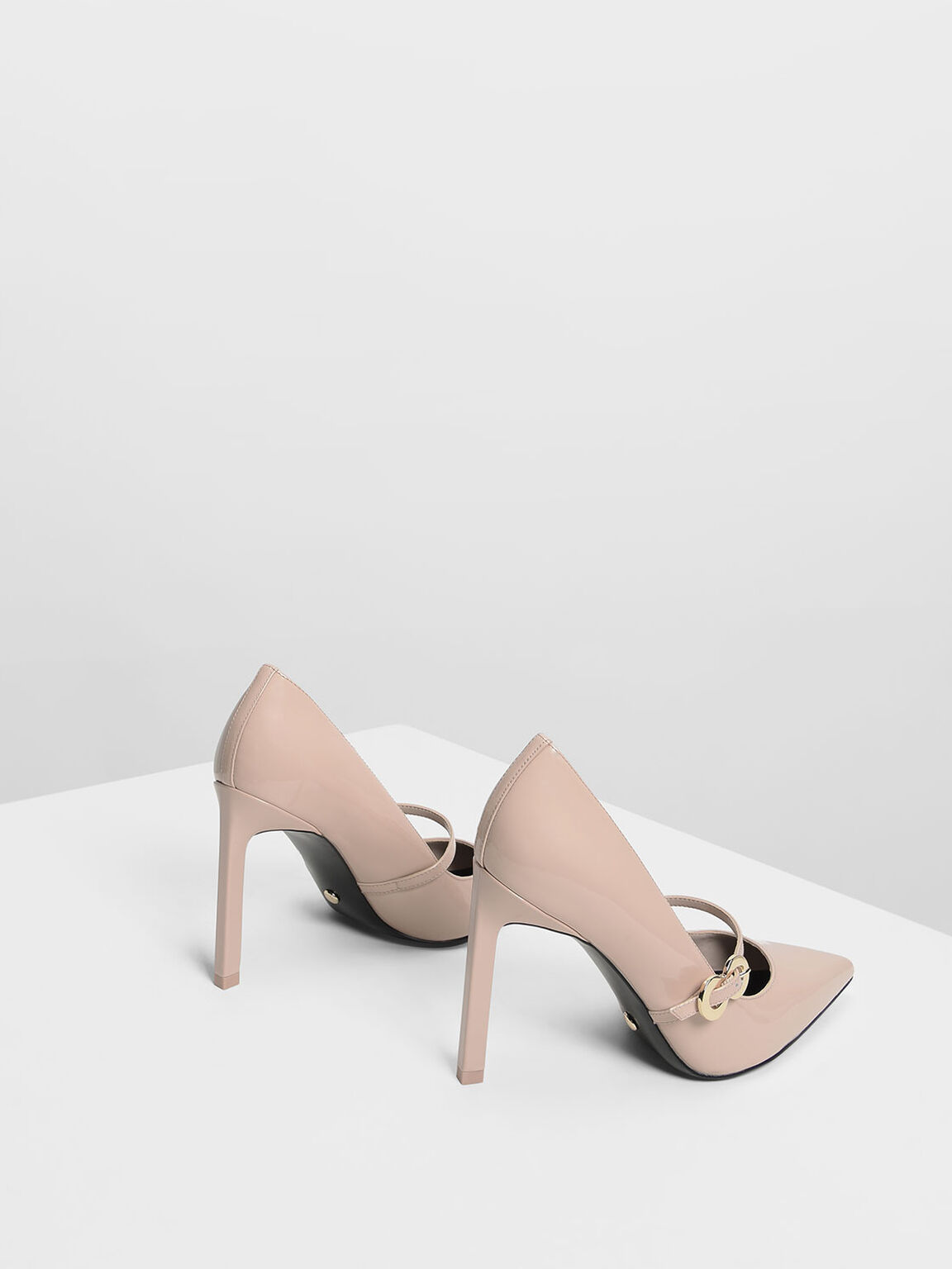Leather Infinity Buckle Mary Jane Pumps, Nude, hi-res
