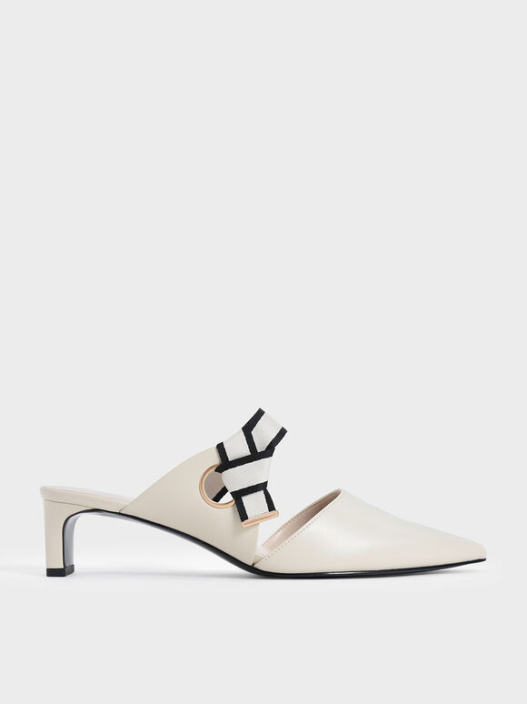 織帶扭結低跟鞋, 石灰白, hi-res