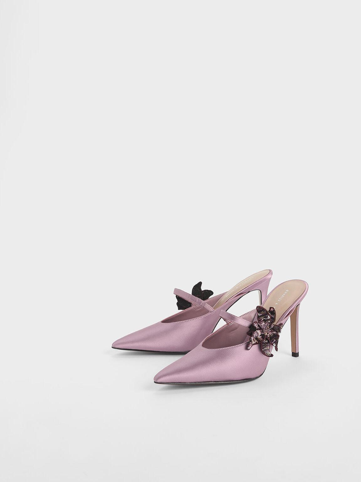 Sequin Flower Satin Mules, Pink, hi-res