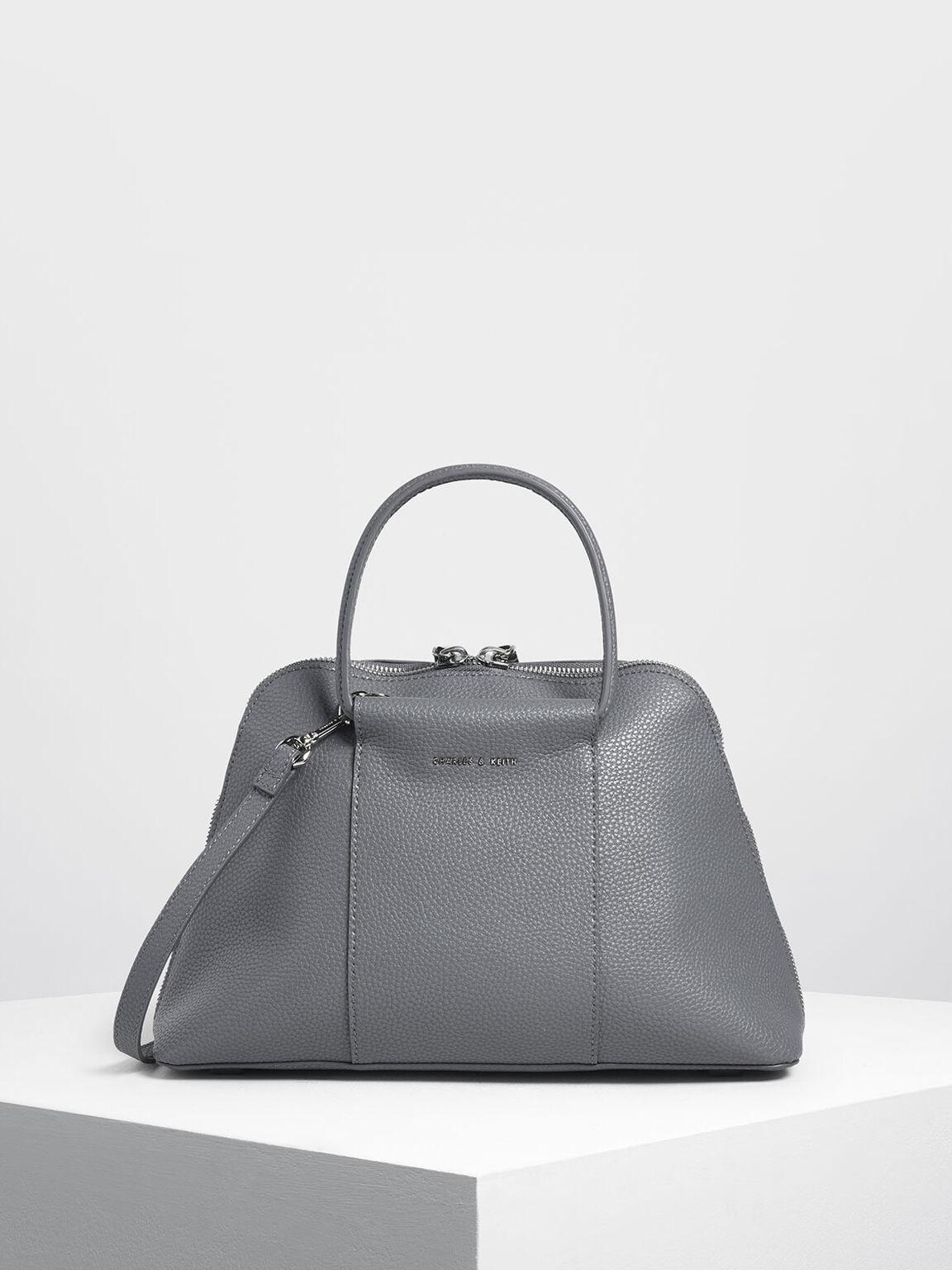 Ring Handle Dome Bag, Grey, hi-res