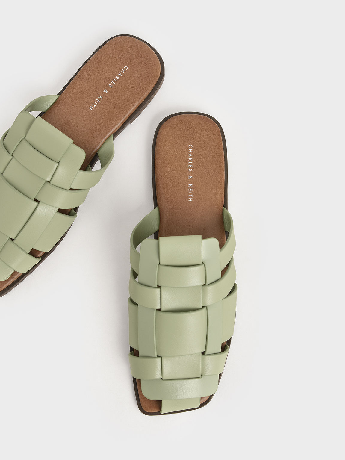 Woven Flat Mules, Sage Green, hi-res