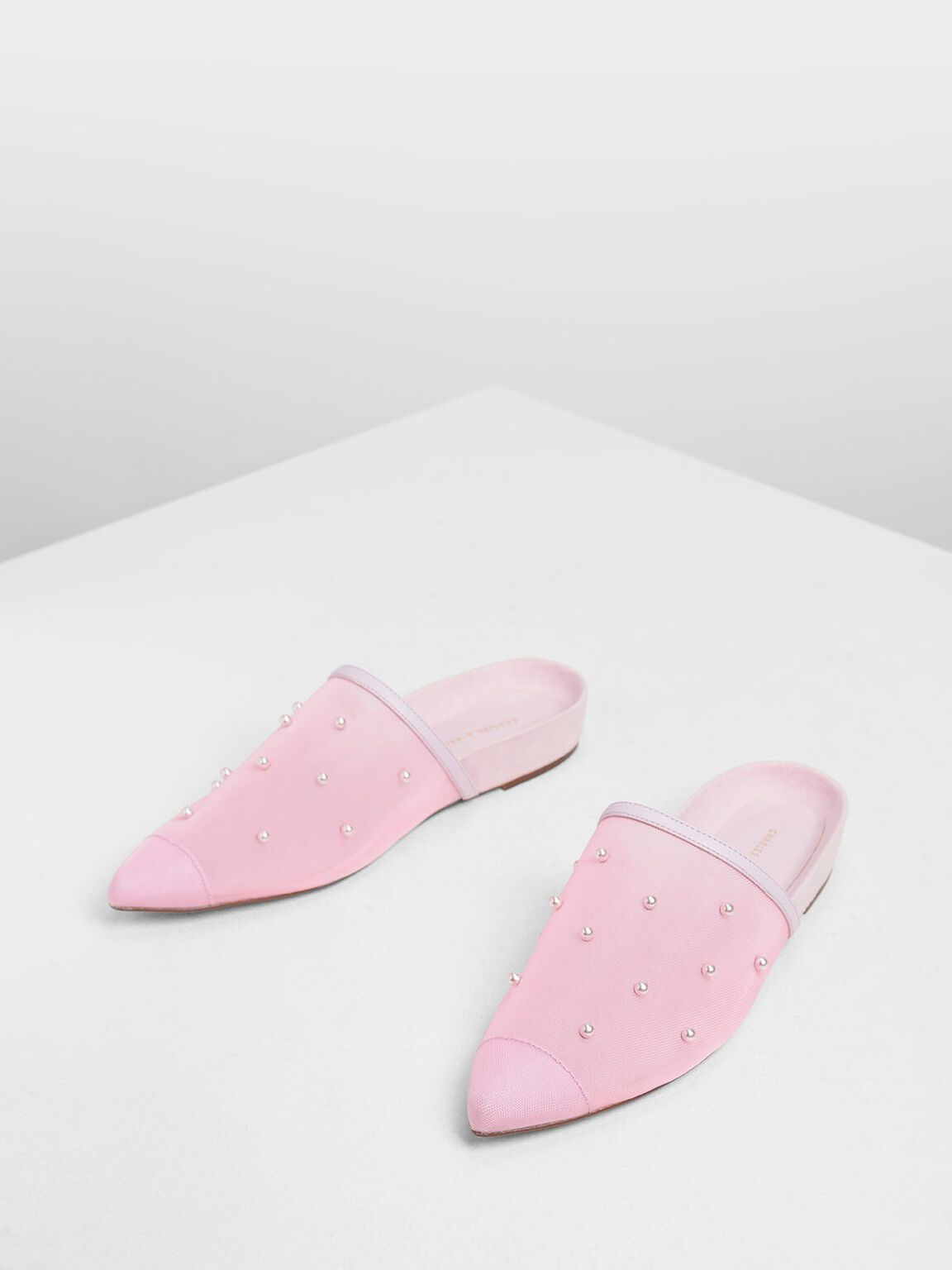 Pearl Embellished Mules, Lilac, hi-res