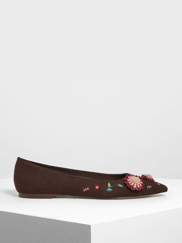 Floral Ballerinas, Brown, hi-res