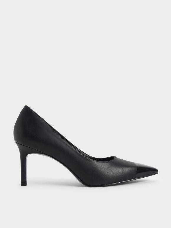 拼接尖頭高跟鞋, 黑色, hi-res