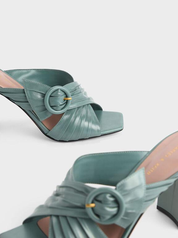 Criss Cross Pleated Buckle Strap Heeled Slide Sandals, Green