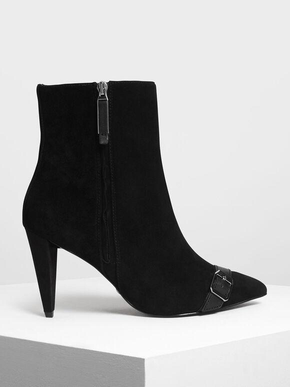 Leather Strap Detail Suede Boots, Black, hi-res